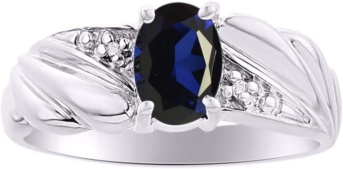 RYLOS - Anillo de mujer con piedra preciosa de forma ovalada y diamantes brillantes auténticos en oro blanco de 14 K - 7 x 5 mm esmeralda, rubí y zafiro