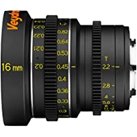 Veydra V1-16T22CMOUNTM Mini Prime 16mm T2.2 C-Mount Metric Cinema Lens with Manual Focus, Black