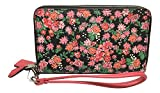 Coach Double Zip Phone Wallet Posey Cluster Floral Print Silver Pink Multi F57961