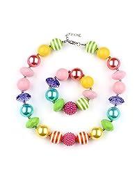 Girls Rainbow Necklace and Bracelet Set Chunky Bubblegum Beads Fashion Jewelry with Gift Box Vcmart