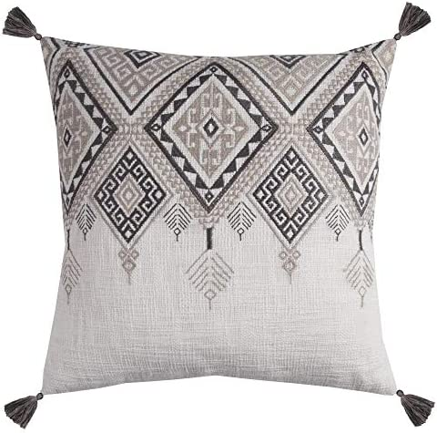 Rizzy Home T11501 Decorative Pillow, 20 X20 , Ivory Gray