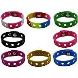 diasstro 8 Pcs 8 Colors Kids Adjustable Silicone Wristband Bracelet For Fit Jibbitz Croc Shoe Charms