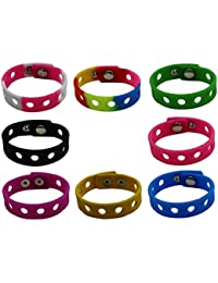 8 Pcs 8 Colors Kids Adjustable Silicone Wristband Bracelet For Fit Jibbitz Croc Shoe Charms