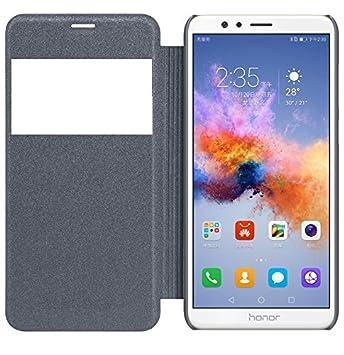 S Hardline Window Flip Cover for Honor 7X  Black  Mobile Accessories