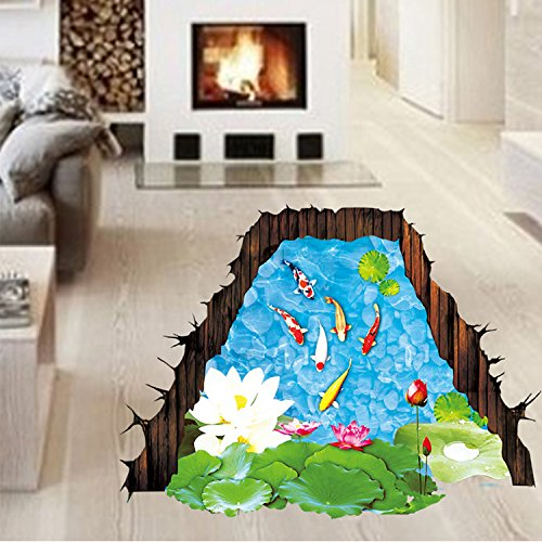 Marine Pond (LWCX Marine Dolphins 3D Three-Dimensional Wall Stickers Children Room Bedroom Living Room Floor Waterproof,Lotus Pond)