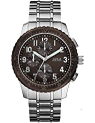 Guess Men's U13604G1 Silver Stainless-Steel Quartz Watch with Brown Dial