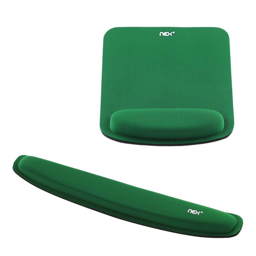 NEX Memory Foam Keyboard Mouse Pad Kit with Wrist Support Non-slip Wrist Rest For Home, Office & Travel (Green)