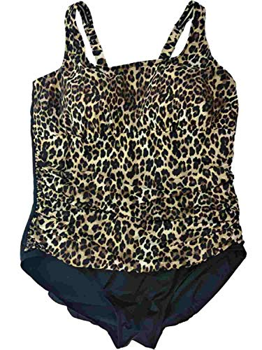 (Womens Black Brown Cheetah Leopard One Piece Bathing Suit Slimming Swimmingsuit)