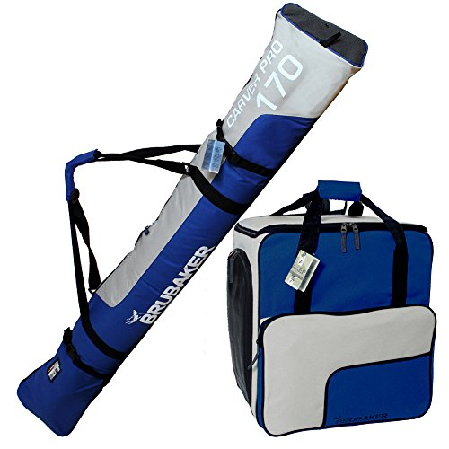 BRUBAKER Superfunction - Combo Ski Boot Bag and Ski Bag for 1 Pair of Ski up to 170 cm (66 7/8''), Poles and Boots - Blue Silver by BRUBAKER