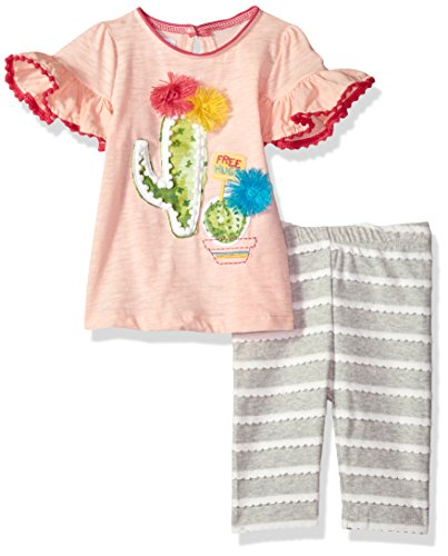Mud Pie Baby Girls Cactus Tunic and Capri Short Sleeve Two Piece Play Set, Multi, 3T