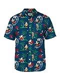 Tipsy Elves Men's Surf's Up Santa Hawaiian Button Down Shirt (Medium)