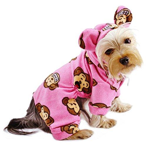 Klippo Silly Monkey Fleece Hooded Pajamas/Bodysuit/Loungewear/Coverall with Ears - Pink - Medium