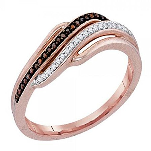 Unique Right Hand Rings (0.10 Carat (ctw) 10K Rose Gold Round Champagne & Diamond Right Hand Ring 1/10 CT (Size 10))