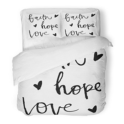 SanChic Duvet Cover Set Overlays Faith Hope Love Handwritten Calligraphy Words Lettering Cute Decorative Bedding Set Pillow Sham Twin Size by SanChic