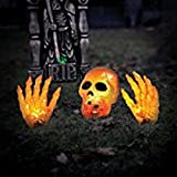 4' Wide Orange Lighted Ground Breaker Skull / Transparent Skeleton With Hands Halloween Decoration