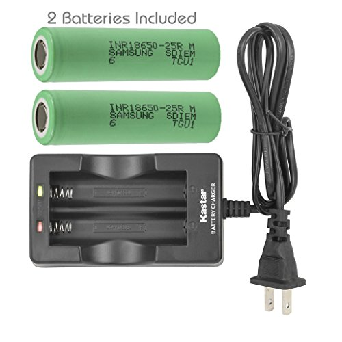 Kastar 18650 Dual Rapid Intelligent Charger & Battery (2 Pack), Samsung INR18650-25R 25R Quality Rechargeable 2500mAh (High Drain 20A) Flat Top for Electric Tools, Toys, LED Flashlights and Torch ect. (Rechargeable Battery Quality)
