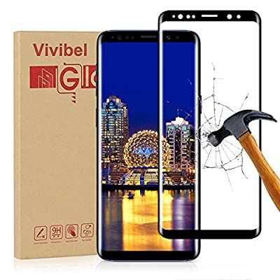"Samsung Galaxy S9 Screen Protector, Vivibel Premium Tempered Glass Screen Protector with 3D Curved Full Coverage HD Ultra Clear 9H Hardness Anti-Scratch Anti-Bubble for Samsung Galaxy S9 (5.8""), Black"