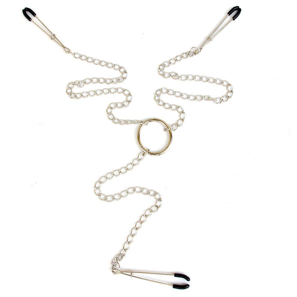 3 in 1 Nipple Clamps Breast Labia Clips with Metal Chain Fetish Toys (Silver)