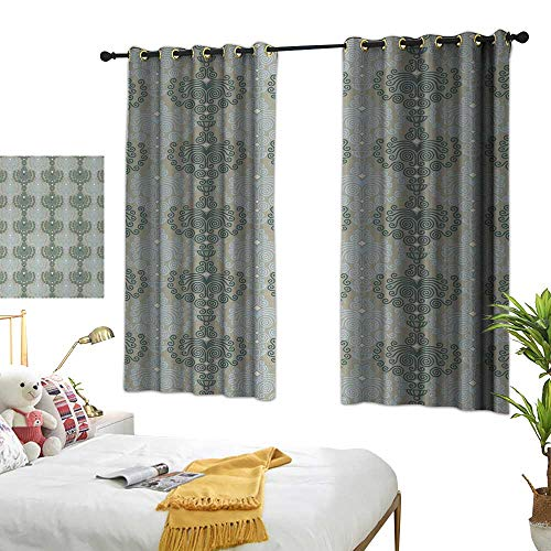 LsWOW Bedroom Curtains W63 x L45 Floral,Abstract Art Damask Desgin Floral Ornament Background Wallpaper Pattern Print,Blue and Taupe Blackout Curtains Window ()