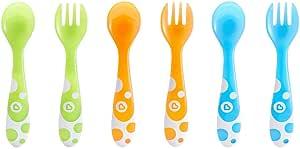 Munchkin - Set de 3 tenedores y 3 cucharas, surtido de colores: Amazon.es: Bebé