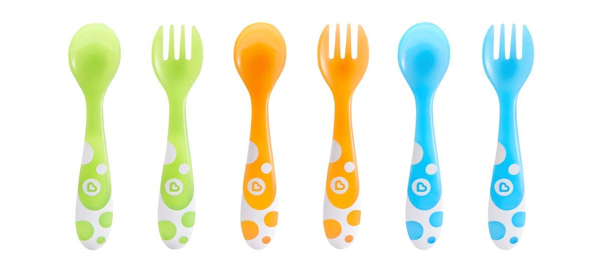 Munchkin Multi-Coloured Forks and Spoons Set of 6, Multi-coloured, (Pack of 6)