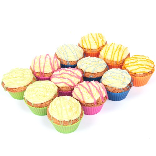Baking Buddies - #1 Rated Pack of 12 Reusable Silicone Baking Cups - Never Use Environmentally Damaging Paper Cups Ever Again - Lifetime Guarantee!