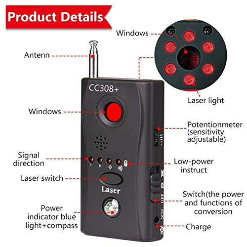 Smars® Bug Detector RF Anti -Spy Wireless Ditector CC308+, Hidden Camera Pinhole Laser Lens GSM Divice Finder, Full-Range All-Round Portable Detector for Eavesdropping, Candid Video, GPS Tracker