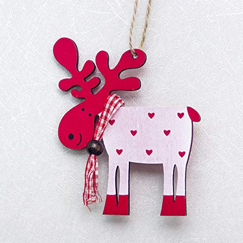 (Cute Santa Clause Bow Bell Christmas Tree Ornament Decoration Wooden Snowman Elk Hanging Pendant Christmas Decorations for)