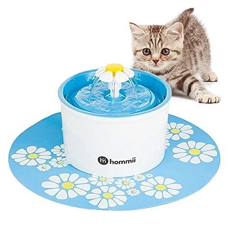 Hommii HP-88 Fuente de Agua para Perros y gatos 1.6L Eléctrico Automático 1.6 L Fuente de Flor Azul Con Tapete Azul: Amazon.es: Jardín