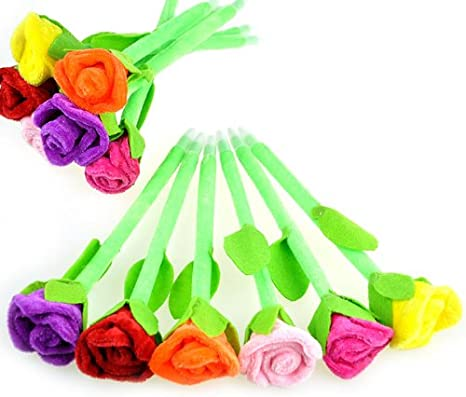 HuntGold 5Pcs Rosa Flor Bolígrafo niños escritorio creativos de la ...