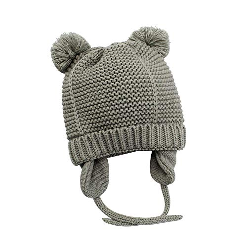 XIAOHAWANG Baby Boys Girls Hats Cute Pompom Ears Knit Winter Caps Toddler Earflap Beanies (2-3Years, Grey 2) -