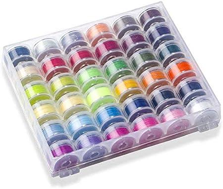 Hilos Coser Maquina, Bobinas Para Máquinas De Coser Plásticos Multicolor con Estuche de Almacenamiento transparente, bobinas para máquina de coser, hilo de coser colorido: Amazon.es: Hogar