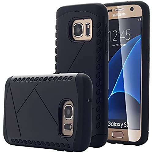Galaxy S7 Case, Pandawell [Shock Absorbent] Hybrid Dual Layer Defender High Impact Armor PC & Rubber Case Cover for Samsung Galaxy S7 - Black Sales