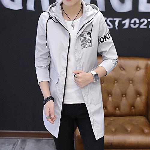 Hombres chaqueta chaquetas de otoño e invierno y Versátil chaqueta de tendencia, largo-cap-cap sello anorak anorak, gris claro ,M