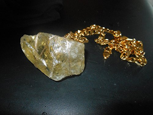 (326 CA NATURAL RAW LEMON TOPAZ NUGGET MEDITATION WRAP GOLD FILLED NECKLACE)