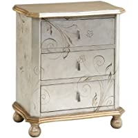 Stein World 64702 One Three Drawer Accent Chest in a Silver and Gold Finish, 18.5 by 15.25 by 25.5-Inch