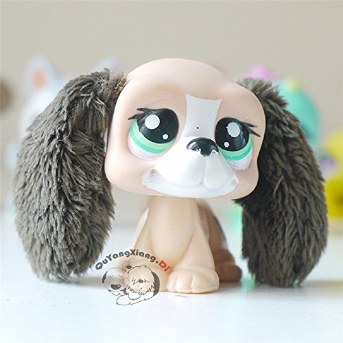 Littlest Pet Shop LPS Tan and Brown Basset Hound Dog with Furry Ears #2413