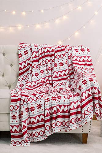 Bedsure Christmas Holiday Fleece Throw Blanket - Plush Blanket with Traditional Snowflake Pattern, Warm & Soft Winter Blanket for Bed, Couch, and Gifts, 50 x 60 inches, Red/White