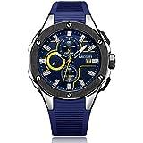 Megir Mens Quartz Watch, Chronograph Display and Silicone Strap - 2053G