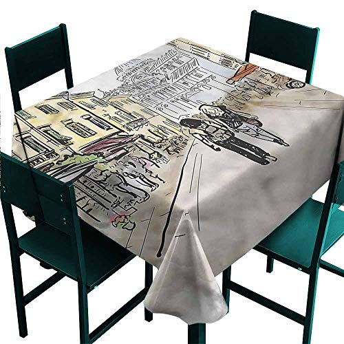 DONEECKL Square Tablecloth Modern Couple in Italian Street and Durable W60 xL60 -