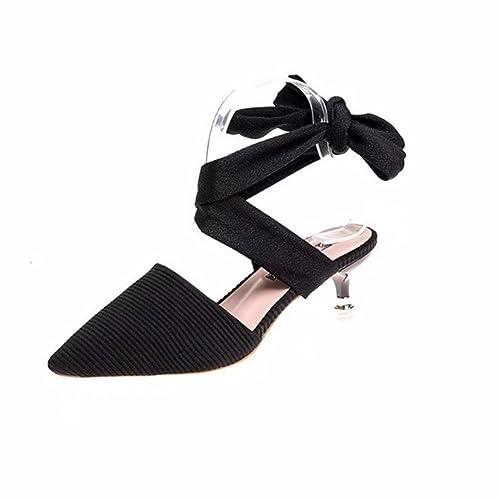 YUCH Sandales pour Femmes, Les Traverses, Les Chaussures de Plage,Black,35,