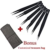Marrywindix Tweezers 6-piece ESD Precision Anti-static Tweezers Stainless Steel Tweezers With a Bag for Electronics Jewelry-making