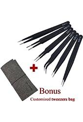 Marrywindix Tweezers 6-piece ESD Precision Anti-static Tweezers Stainless Steel Tweezers With a Bag for Electronics Jewelry-making