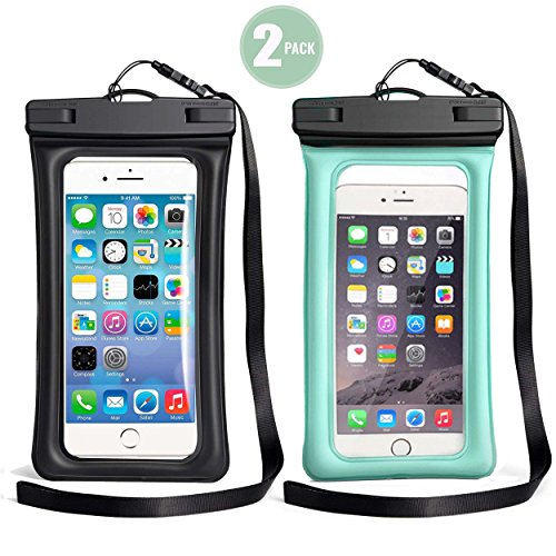 TeaTronics 2 Pack Floating Waterproof Case, Waterproof Phone Case IPX8 Waterproof Phone Pouch Available TPU Clear Dry Bag for iPhone X/8/8plus/7/7plus/6s/6/6s plus Samsung up to 6.0'' (BLACK-BLUE) by TeaTronics