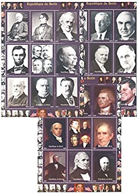 Stamps for collectors - US President stamps in mega stamp collection - 27 stamps - 3 mint and never mounted sheets of thematic stamps featuring US presidents from history. Ideal for stamp collecting. 27 mint condition stamps - never hinged - Part of a set