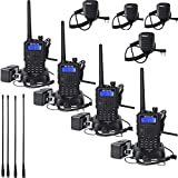 Retevis RT5 Walkie Talkies Dual Band VHF/UHF Radio Scan VOX FM Ham Radio Transceiver(4 Pack) with Earpieces and Speaker Mics