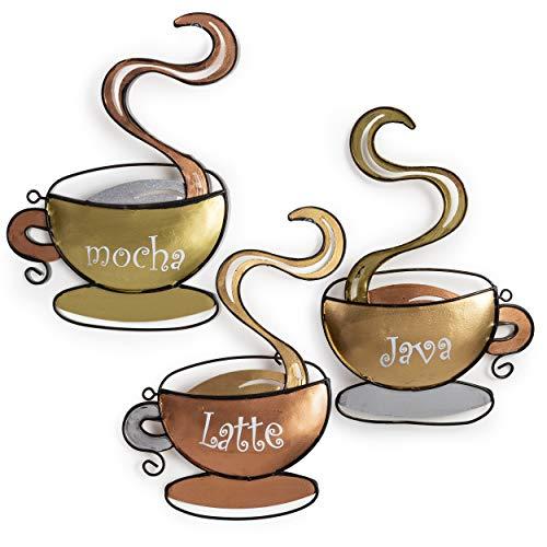 Besti Coffee House Cup Mug Latte Java Mocha Metal Wall Art - Set of 3 Coffee Mugs - Hanging Wall Art Décor - Lightweight Metal Home Decoration Coffee Cups ()