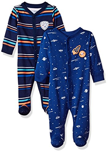 Carter's Baby Boys' 2-Pack Cotton Sleep and Play, Blue Stripe/Space, 3 Months