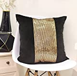Valery Madelyn 18 x18 Inch Luxury Gold with Black Background Velvet Christmas Pillow Cover with Block Sequins,Themed with Tree Skirt(Not Included)