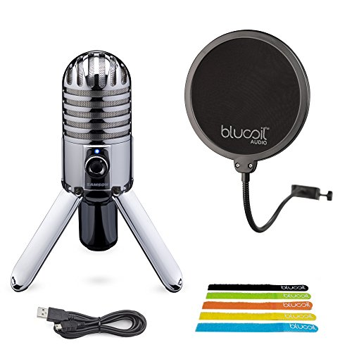 Samson Meteor Mic USB Cardioid Microphone with Mute Switch for Studio Recording (Chrome) BUNDLED WITH Blucoil Pop Filter AND 5-Pack of Cable Ties by blucoil